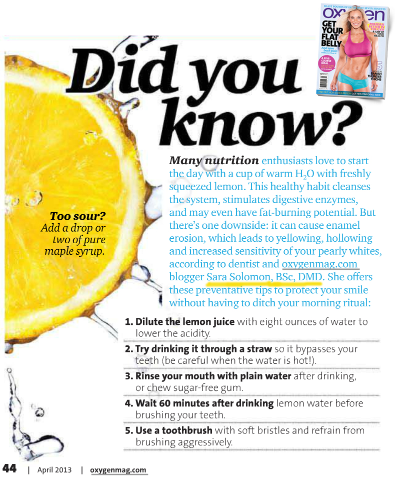 Oxygen Magazine - dental erosion and lemon water